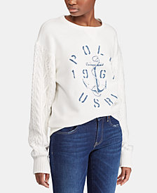 Polo Ralph Lauren Aran-Knit Fleece Pullover