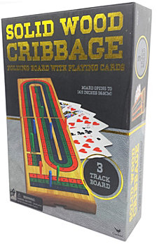 Cribbage in Gold Foil Box Cardinal Solid Wood Cribbage Folding Board with Playing Cards