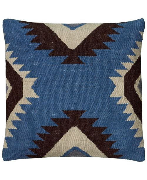 """Rizzy Home 18"""" x 18"""" Large x shaped motif across center Down Filled Pillow"""