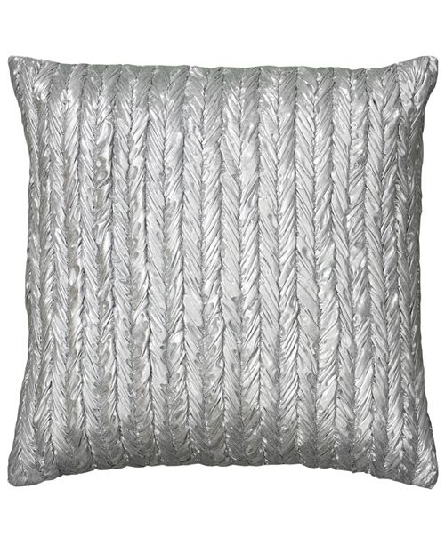 "Rizzy Home 18"" x 18"" Metallic Striped Look Down Filled Pillow"