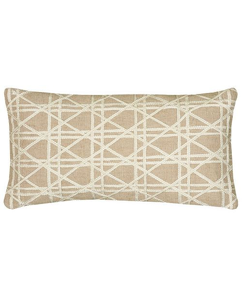 """Rizzy Home 11"""" x 21"""" Geometrical Design Down Filled Pillow"""