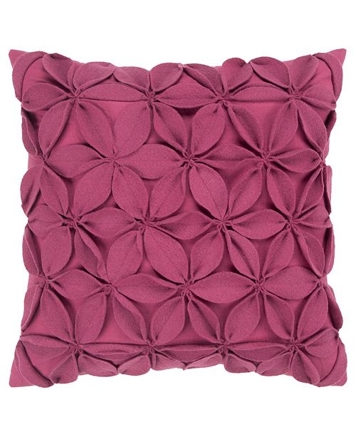 """Rizzy Home 18"""" x 18"""" Botanical Petals Down Filled Pillow"""