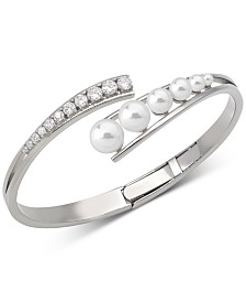 Majorica Stainless Steel Cubic Zirconia & Organic Pearl (3-8mm) Bangle Bracelet