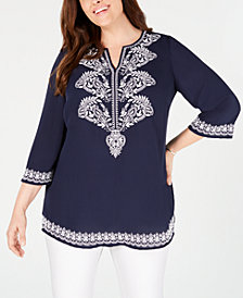 Charter Club Plus Size Georgette Embroidered Tunic, Created for Macy's