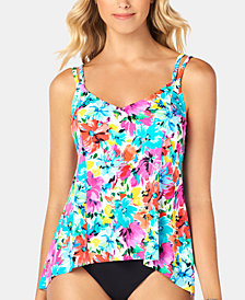 Swim Solutions Printed Princess-Seam High-Low Tankini Top, Created for Macy's