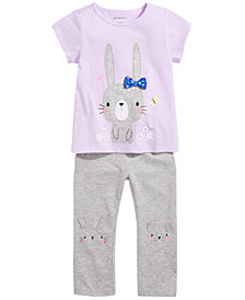 First Impressions Baby Girls Bunny-Print T-Shirt & Animal Leggings, Created for Macy's
