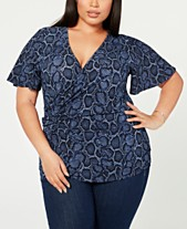 dcde0f74a0dfa MICHAEL Michael Kors Plus Size Twisted Snake-Embossed Top