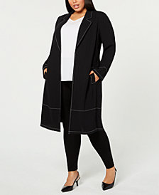 Alfani Plus Size Contrast-Stitch Jacket, Created for Macy's