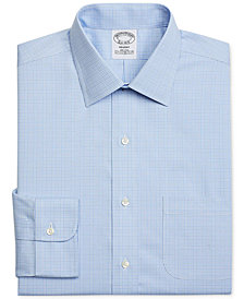 Brooks Brothers Men's Regent Classic/Regular Fit Non-Iron Blue Plaid Dress Shirt
