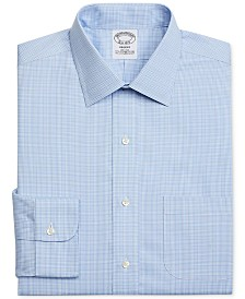 Brooks Brothers Men's Regent Slim-Fit Non-Iron Blue Plaid Dress Shirt