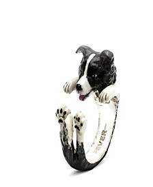 Border Collie Hug Ring in Sterling Silver and Enamel