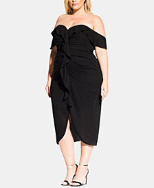 City Chic Trendy Plus Size Ruffled Off-The-Shoulder Dress