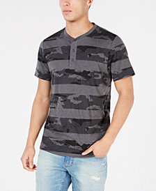 American Rag Men's Camo Stripe Henley, Created for Macy's