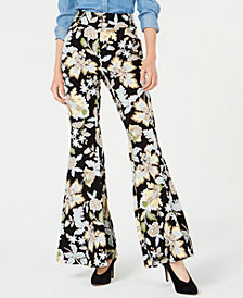 I.N.C. Printed Bell-Bottom Pants, Created for Macy's
