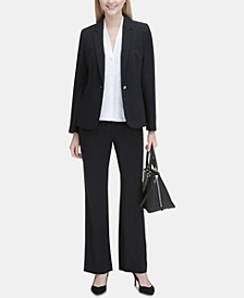 One-Button Blazer, Pleated Blouse & Trousers