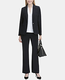 Calvin Klein One-Button Jacket, Pleated Top & Trousers
