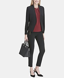 Asymmetrical Blazer, Embellished Top & Skinny Pants