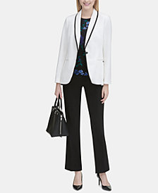Calvin Klein Piped Blazer, Embroidered Top & Trousers
