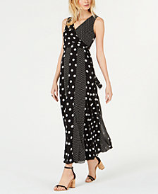 I.N.C. Petite Multi-Dot Sleeveless Maxi Wrap Dress, Created for Macy's