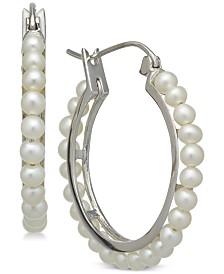 Cultured Freshwater Pearl (3mm) Hoop Earrings in Sterling Silver