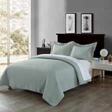 Lotus Home Diamond Stitch Twin Quilt with Stain Resistant Microfiber