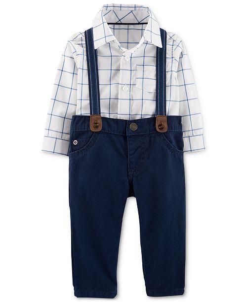 b40369de1 ... Set; Carter's Baby Boys 2-Pc. Cotton Plaid Bodysuit and Suspender Jeans  ...