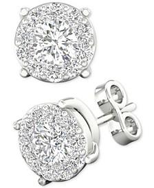 Diamond Halo Stud Earrings (1/4 ct. t.w.) in 14k White Gold