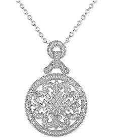 "Diamond (3/8 ct. t.w.) Medallion 18"" Pendant Necklace in Sterling Silver"