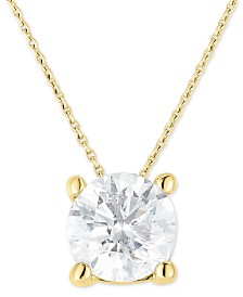 """Diamond (1-1/4 ct. t.w.) Solitaire 18"""" Pendant Necklace in 14k Gold"""