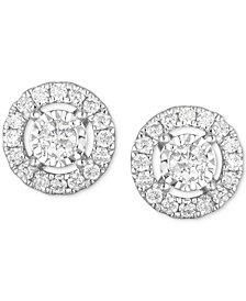 Diamond Open Halo Stud Earrings (1/2 ct. t.w.) in 14k White Gold