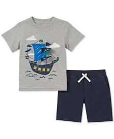 Kids Headquarters Toddler Boys 2-Pc. Pirate Ship Graphic T-Shirt & Shorts Set