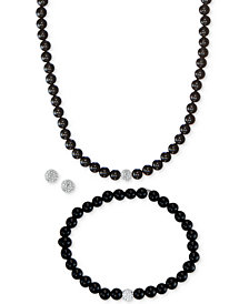 3-Pc. Set Onyx (6mm) & Crystal Collar Necklace, Bracelet & Stud Earrings in Sterling Silver