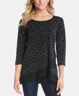 Karen Kane Tops PRINTED CROSSOVER-HEM TOP