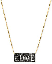 "Gold-Tone Sterling Silver Pavé Love Pendant Necklace, 16"" + 2"" extender"