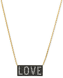 "Michael Kors Gold-Tone Sterling Silver Pavé Love Pendant Necklace, 16"" + 2"" extender"