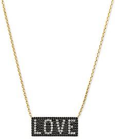 "Michael Kors Gold-Tone Sterling Silver Pavé Love Pendant Necklace, 16"" + 2"" extender"