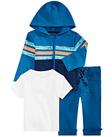 First Impressions Baby Boys Striped Hoodied, T-Shirt & Raw-Hem Cuffed Jeans, Created for Macy's