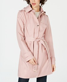 MICHAEL Michael Kors Belted Hooded Raincoat