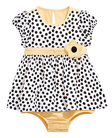 First Impressions Baby Girls Cotton Dot-Print Skirted Romper, Created for Macy's