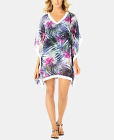 Swim Solutions Printed Crochet-Trim Caftan Cover-Up, Created for Macy's