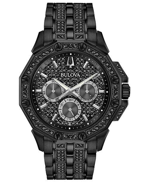Bulova Men's Phantom Black Stainless Steel & Crystal-Accent Bracelet Watch 41.5mm
