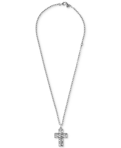 "Gucci Stone G Cube Cross 23-1/2"" Pendant Necklace in Sterling Silver"