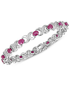 Certified Ruby (7 ct. t.w.) and Diamond Accent XO Bracelet in Sterling Silver