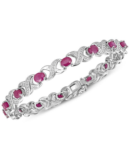 e4cbfeaa0f5ed Certified Ruby (7 ct. t.w.) and Diamond Accent XO Bracelet in Sterling  Silver