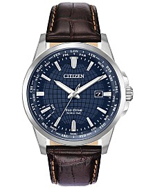 Citizen Eco-Drive Men's World Time Brown Leather Strap Watch 41mm