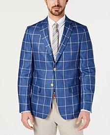 Men's UltraFlex Classic-Fit Windowpane Linen Sport Coat