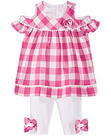 Bonnie Baby Baby Girls 2-Pc. Cold-Shoulder Gingham Tunic & Leggings Set
