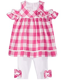 Bonnie Baby Baby Girls 2-Pc. Cold-Shoulder Gingham Tunic & Leggings Set