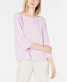 Eileen Fisher Organic Cotton 3/4-Sleeve Crinkle Top, Regular & Petite