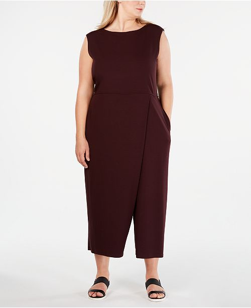 Eileen Fisher Plus Size Boat-Neck Wrap Jumpsuit